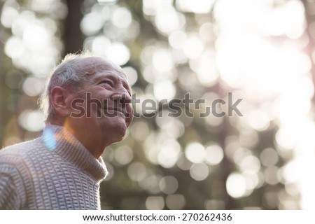 Portrait of a happy grandpa during sunset. Blurred Sunny Background.