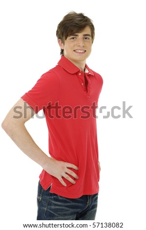 Portrait of a happy handsome young man posing in studio