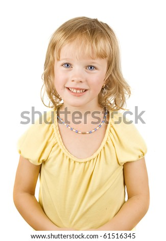 Portrait of a happy little girl on the white isolated background.
