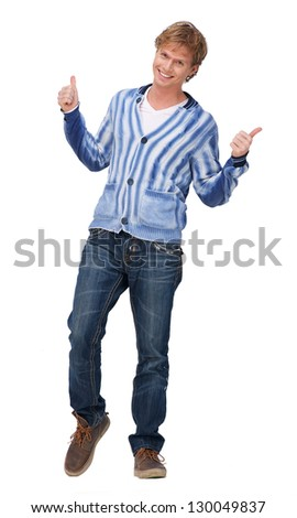 Portrait of a happy man showing thumbs up sign