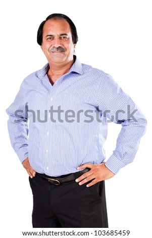 portrait of a happy mature businessman, mature latin businessman isolated on white