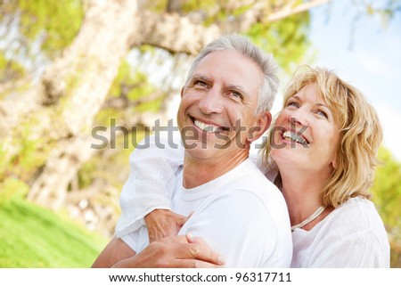 Portrait of a happy mature couple outdoors #96317711