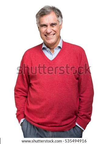 Portrait of a happy mature man isolated over a white background #535494916