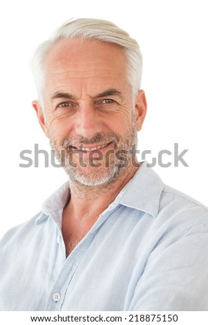 Portrait of a happy mature man over white background #218875150