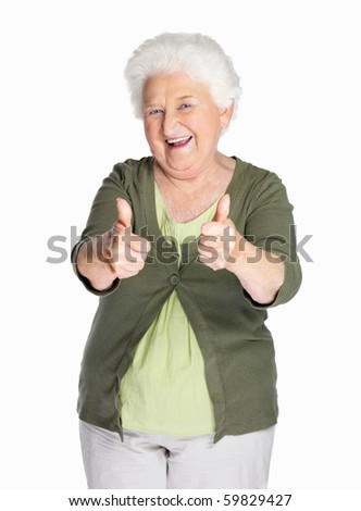 stock photo portrait of a happy mature woman showing thumbs up isolated against white 59829427 She Is Nude!