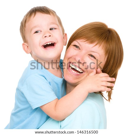 Portrait of a happy mother with her son, isolated over white - stock photo