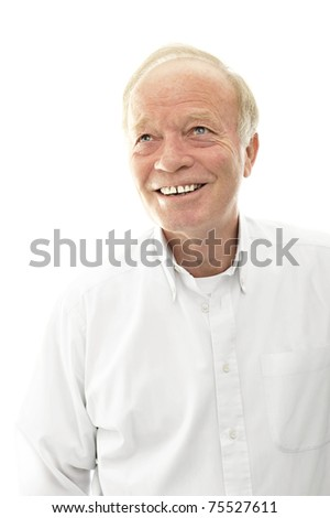 Portrait of a happy senior man smiling over bright background #75527611