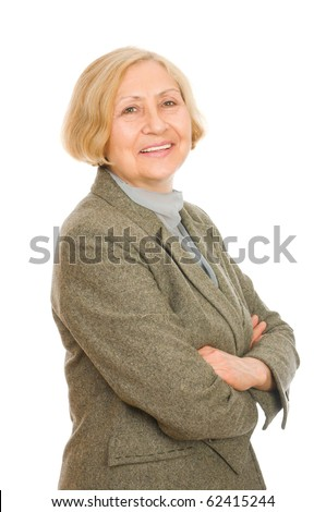 Portrait of a happy senior woman isolated on white background