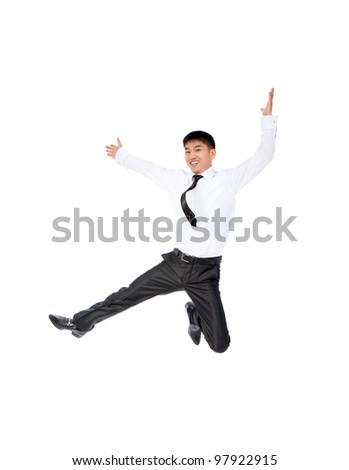 Portrait of a happy smile asian businessman jumping in air isolated over white background