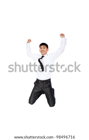 Portrait of a happy smile asian businessman jumping in air, Successful excited young business man hold fist with arms wide open, isolated over white background