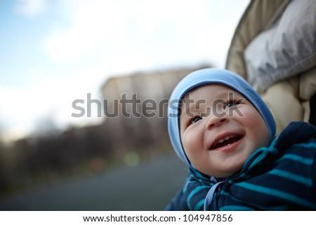 Portrait of a happy smiling boy. - stock photo