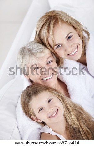 Portrait of a happy smiling family - stock photo