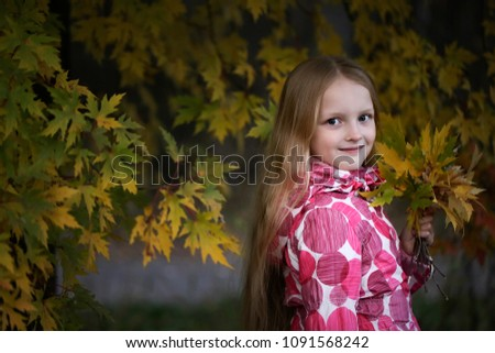 Stock Photo Portrait of a Happy smiling little girl looking at the camera in the autumn park. Cute four years old child enjoying nature outdoors.