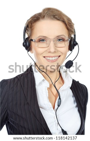 Portrait of a happy smiling  support phone operator in headset. Isolated over white.