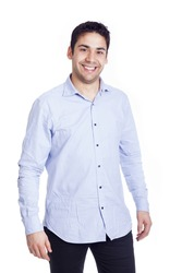 Portrait of a happy smiling young casual man, isolated on white background