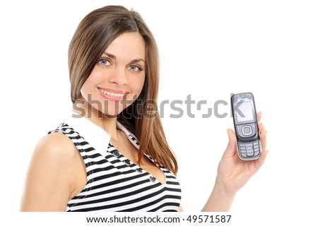 Portrait of a happy woman showing her new phone on white background