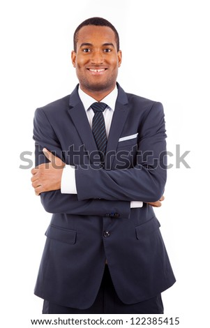 Portrait of a happy young African American business man, isolated on white