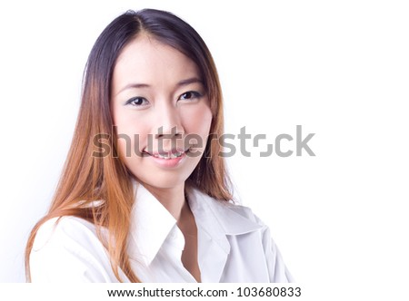 Portrait of a happy young business woman  against white background