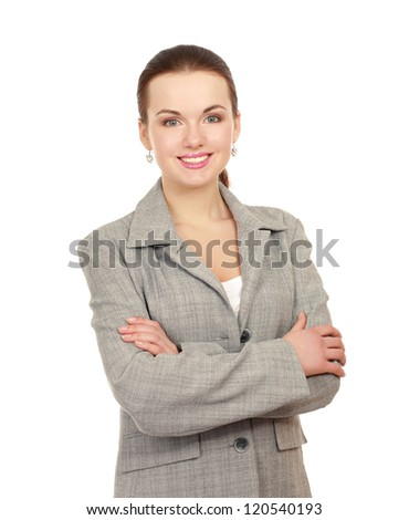 Portrait of a happy young business woman standing, isolated on white background