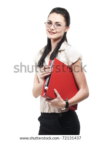 Portrait of a happy young business woman with red folder isolated on white