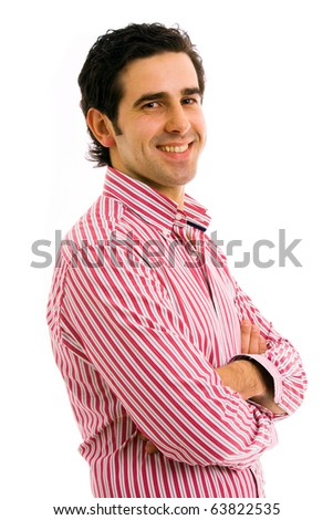 Portrait of a happy young man, isolated on white background