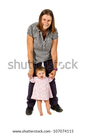 Portrait of a happy young mother holding baby girl