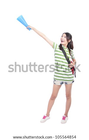 Portrait of a happy young student woman hand pointing to empty copy space isolated on white background, model is a asian girl