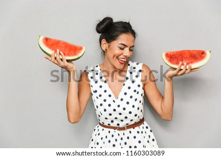 Young Woman With Watermelon In Hands Images And Stock