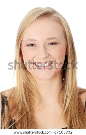 Portrait of a happy young woman. Isolated on white