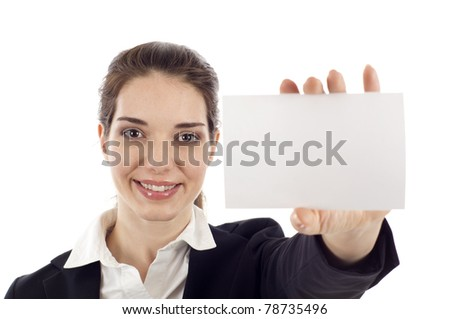 Portrait of a happy young woman showing a blank business card isolated over white background