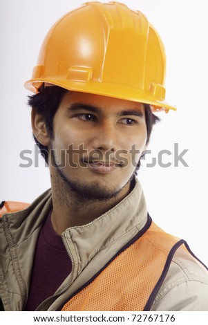 portrait of a hardhat worker - stock photo