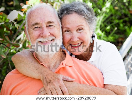 Portrait of a healthy, happy senior couple in love.