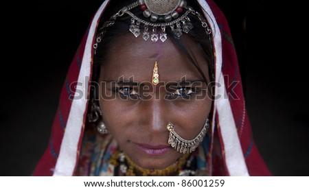 Portrait of a india rajasthani woman stock photo