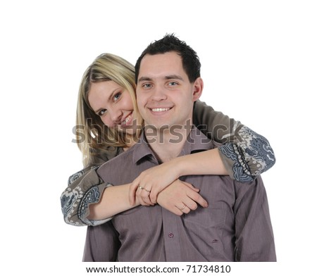 portrait of a joyful young couple. Isolated on white background