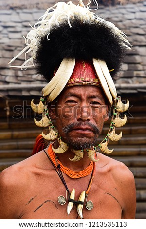 Portrait of a Konyak Naga Tribe during Hornbill Festival in Kohima, Nagaland, India.