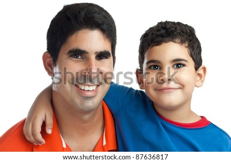 Portrait of a latin father with his adorable small son isolated on white