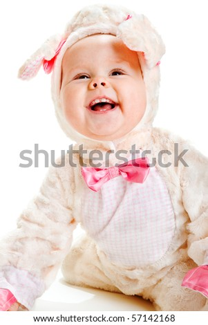 Portrait of a laughing baby lamb