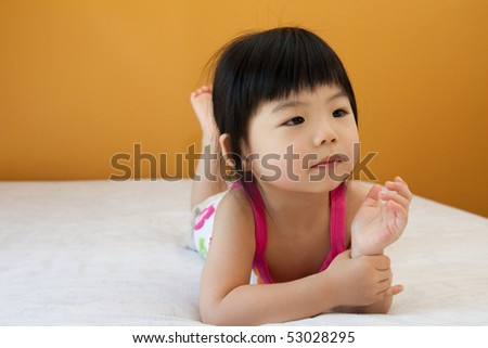 Portrait of a little Asian baby child girl