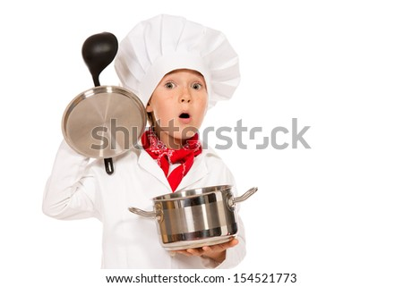 Portrait of a little boy cook holding pan with a ladle. Different occupations. Isolated over white background.