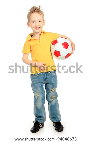 Portrait of a little boy with a ball. Isolated over white background. - stock photo