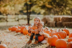 Portrait of a little cute girl in red coat like a fox posing at the pumpkin's field. Copy space.