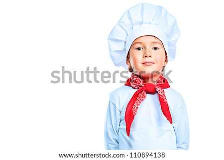 Portrait of a little kitchen boy in a white uniform. Isolated over white background.