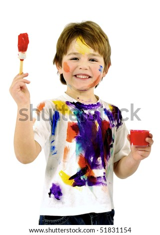 Portrait of a little messy boy painter