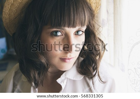 Stock Photo Portrait of a lovely country girl