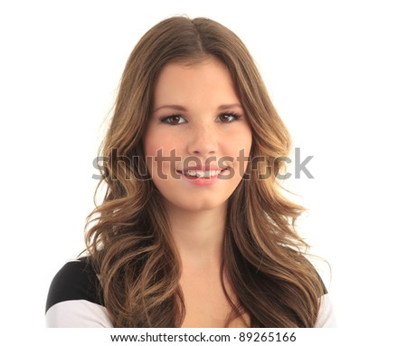 Portrait of a lovely young woman against white background