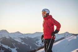 Portrait of a male skier in the alps