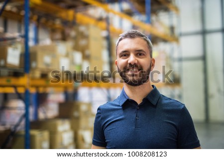 Portrait of a male warehouse worker.