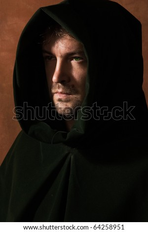 Portrait of a man in a medieval hood