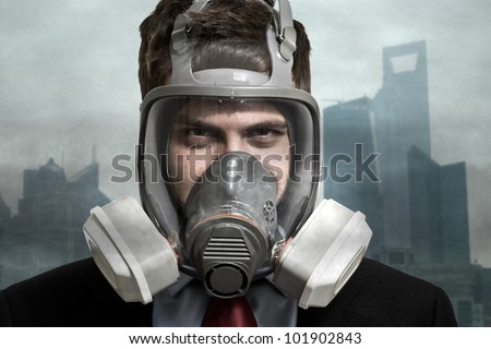 Stock Photo Portrait of a man in a polluted city