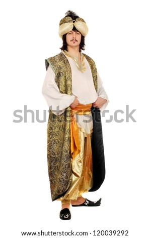Portrait of a man in oriental costume. Isolated